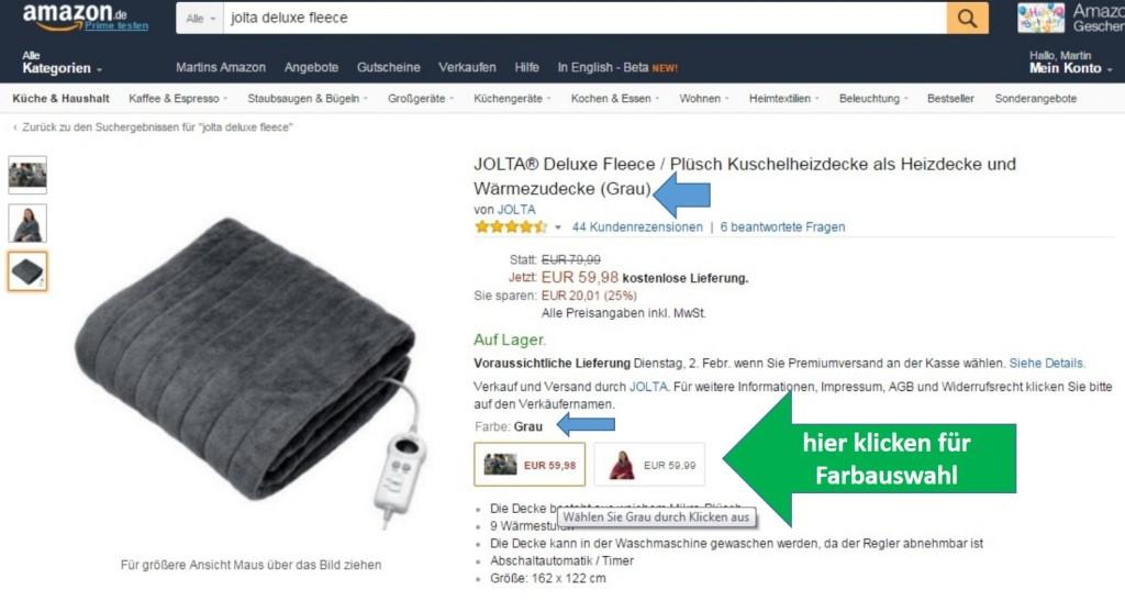Hier wählen Sie bei Amazon.de die Farbe der Jolta Deluxe Fleece Heizdecke durch Klicken aus (grüner Pfeil). Die Anzeige Ihrer Wunschfarbe ändert sich (blauer Pfeil) und Sie könne die Heizdecke bestellen.